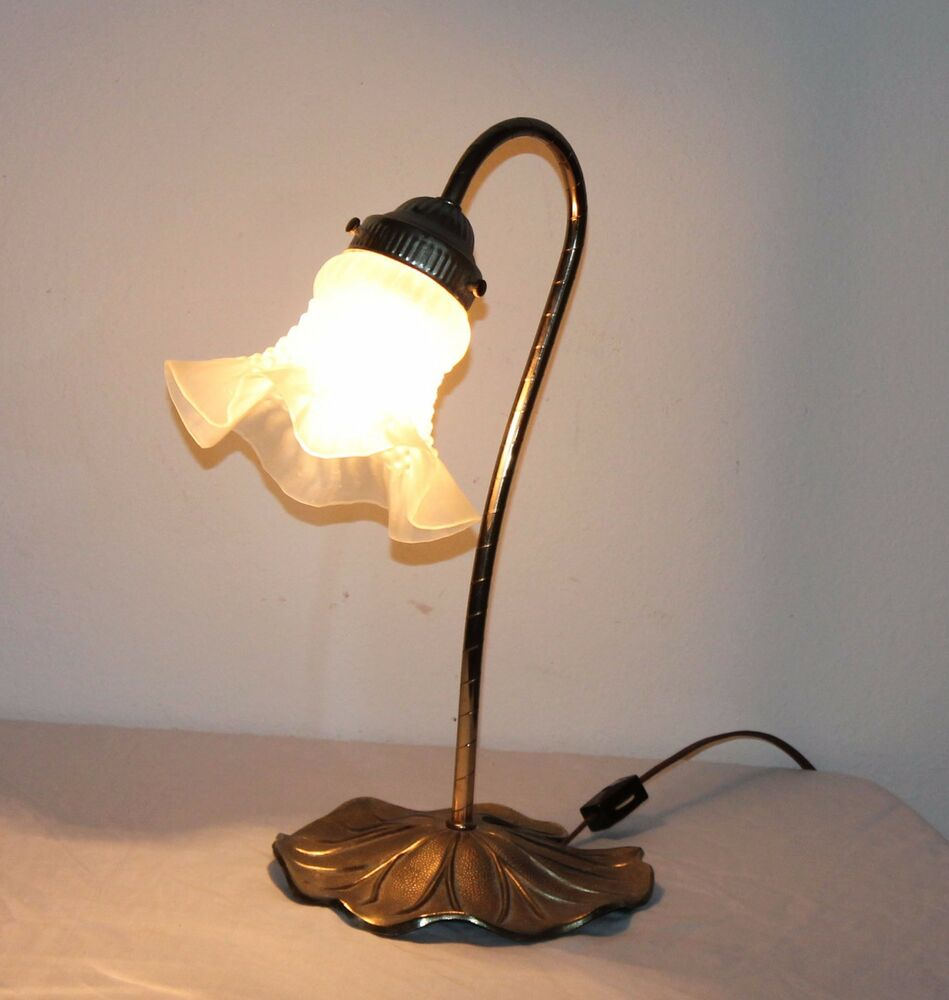 Vtg Brass Floor Lamp: Brass Goose Neck Lilly Pad Frosted Tulip Glass Shade Table