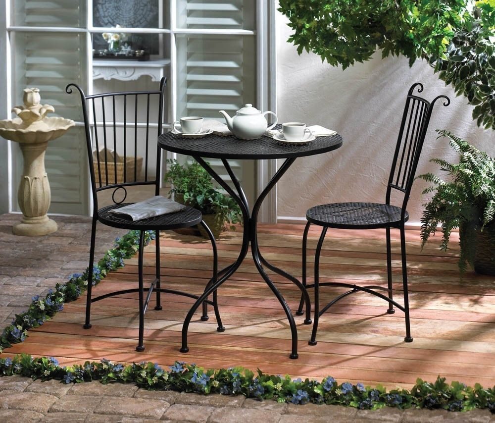 3 piece patio bistro set table and 2 chairs black metal for Deck table and chair sets