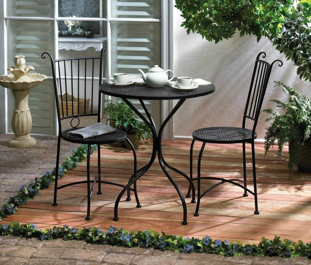 3 piece patio bistro set table and 2 chairs black metal for Patio table set