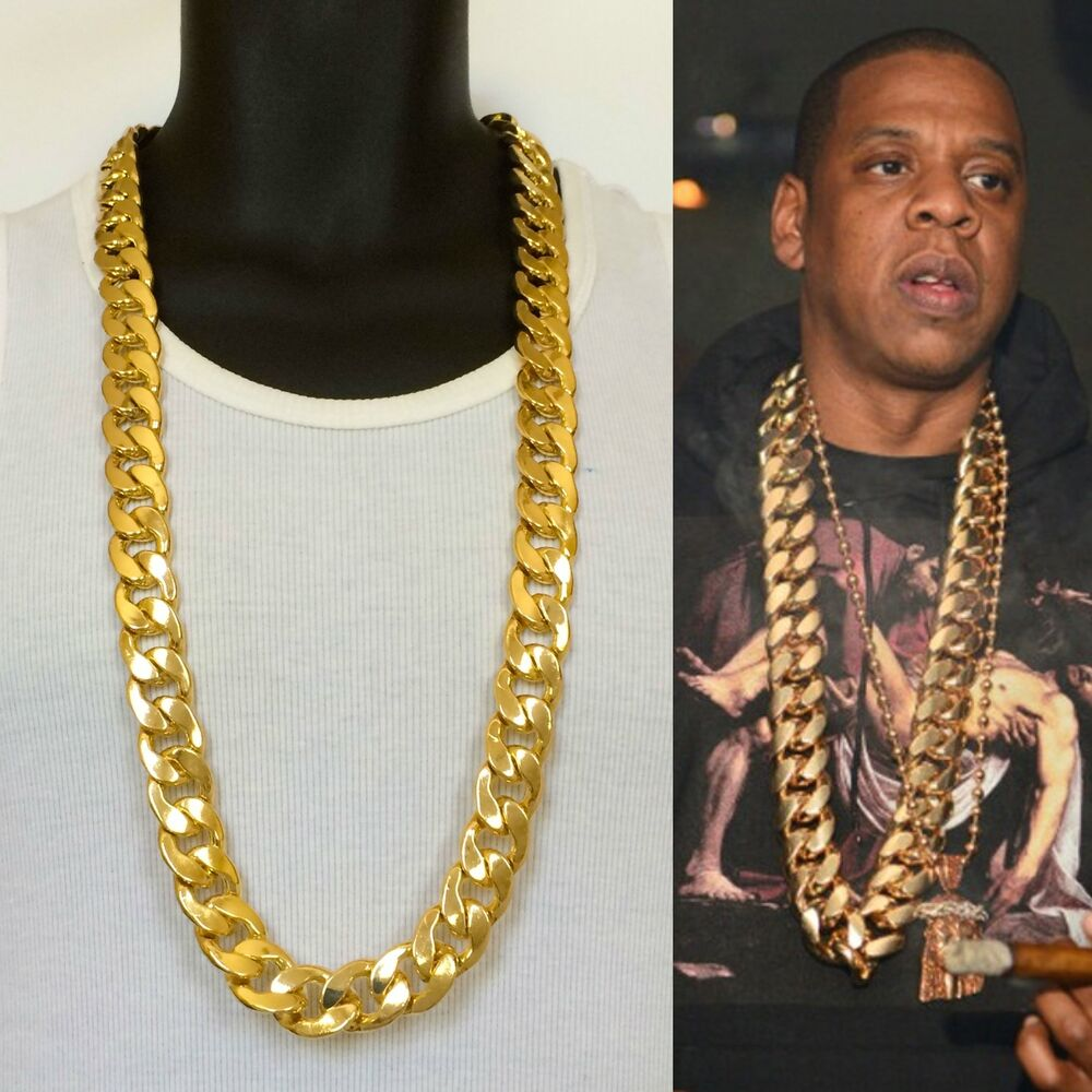 SOLID HEAVY 14K YELLOW GOLD FINISH 21mm 38 INCHES RAPPERS ...