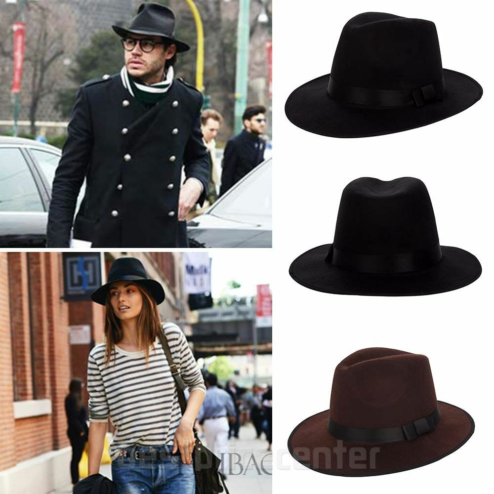 64e078b38e57f Men s Women Wide Brim Fedora Hat Vintage Style Genuine Wool Felt Pork Pie  Cap