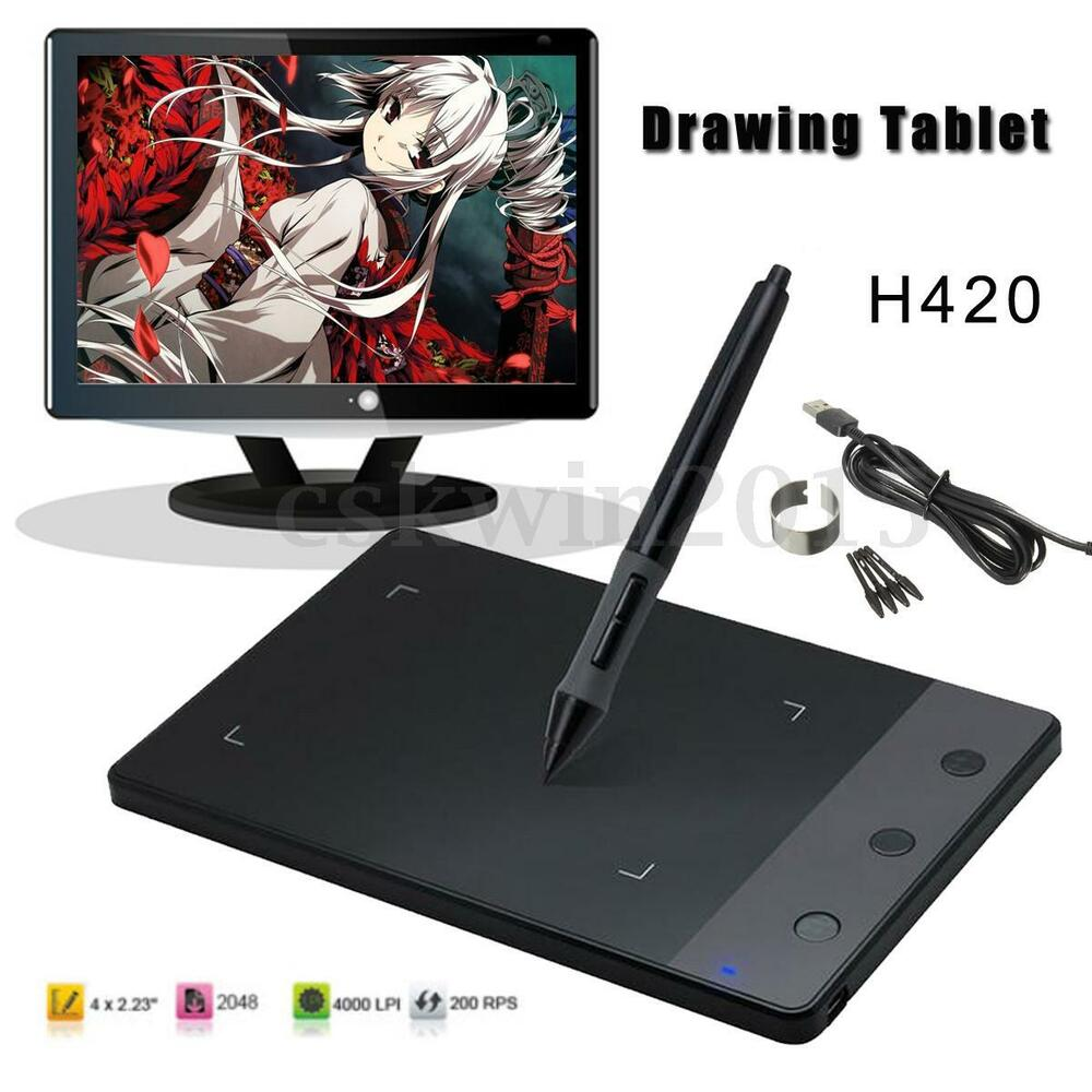 usb art design photoshop graphic drawing tablet pad digital pen for huion h420 ebay. Black Bedroom Furniture Sets. Home Design Ideas