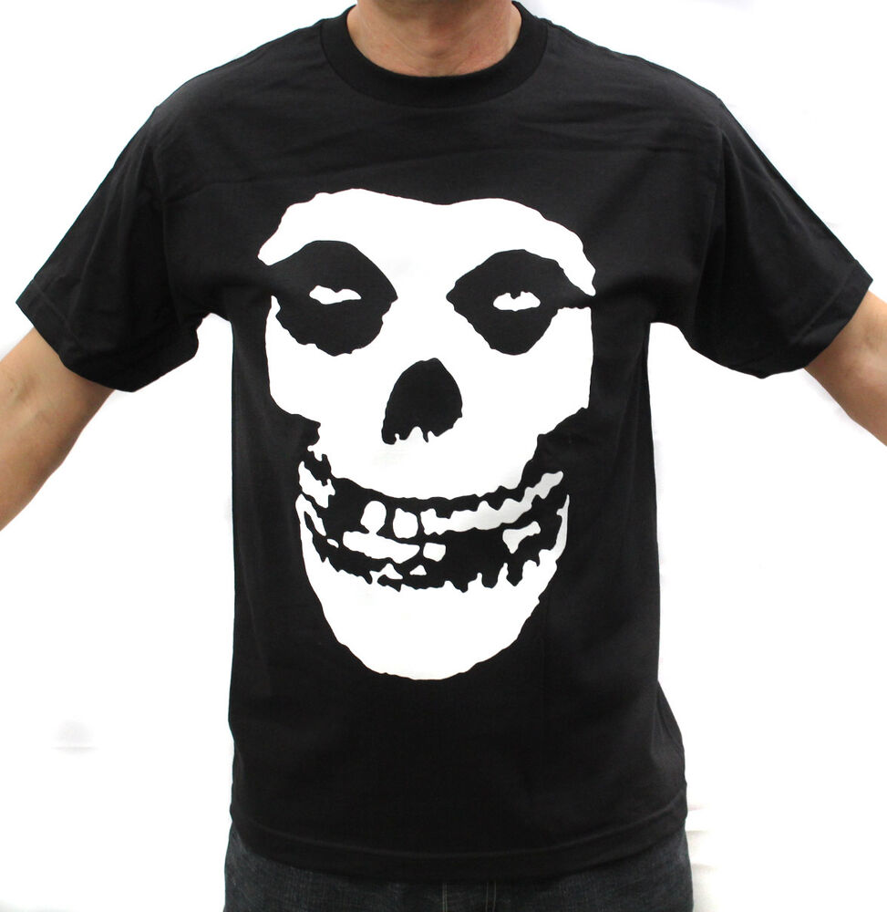 Misfits punk band white logo on back graphic t shirts ebay for Shirts with graphics on the back
