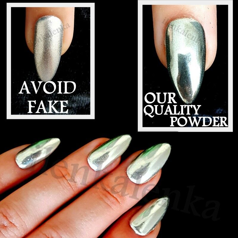 Mirror Chrome Effect Nail Powder Pigment No Polish Foil
