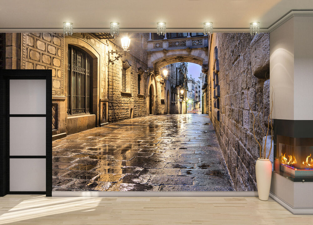 Narrow Street In Barcelona Wall Mural Photo Wallpaper