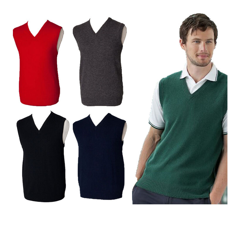 Mens Henbury Lambswool Knitted Sleeveless Jumper Sweater Tank Top V Neck Golf