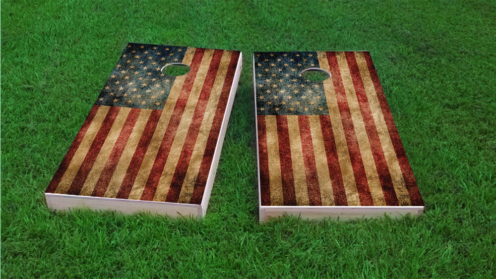 Worn American Flag Themed 2x4 Custom Cornhole Board Set W