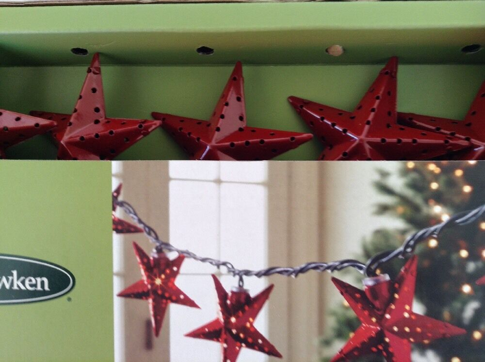 Outdoor String Lights Smith Hawken : Red Metal Star String Lights Set Smith Hawken Indoor/Outdoor Christmas 4th July eBay