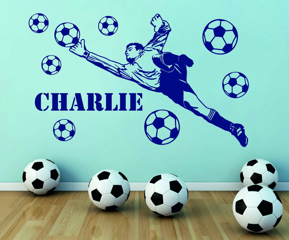 football player wall stickers ebay goalkeeper personalized name football player balls vinyl wall sticker bedroom