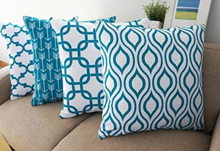 Throw Pillows Set Of 4 : Howarmer Canvas Cotton Throw Pillows Cover For Couch Set Of 4 Teal Accent 18 X eBay