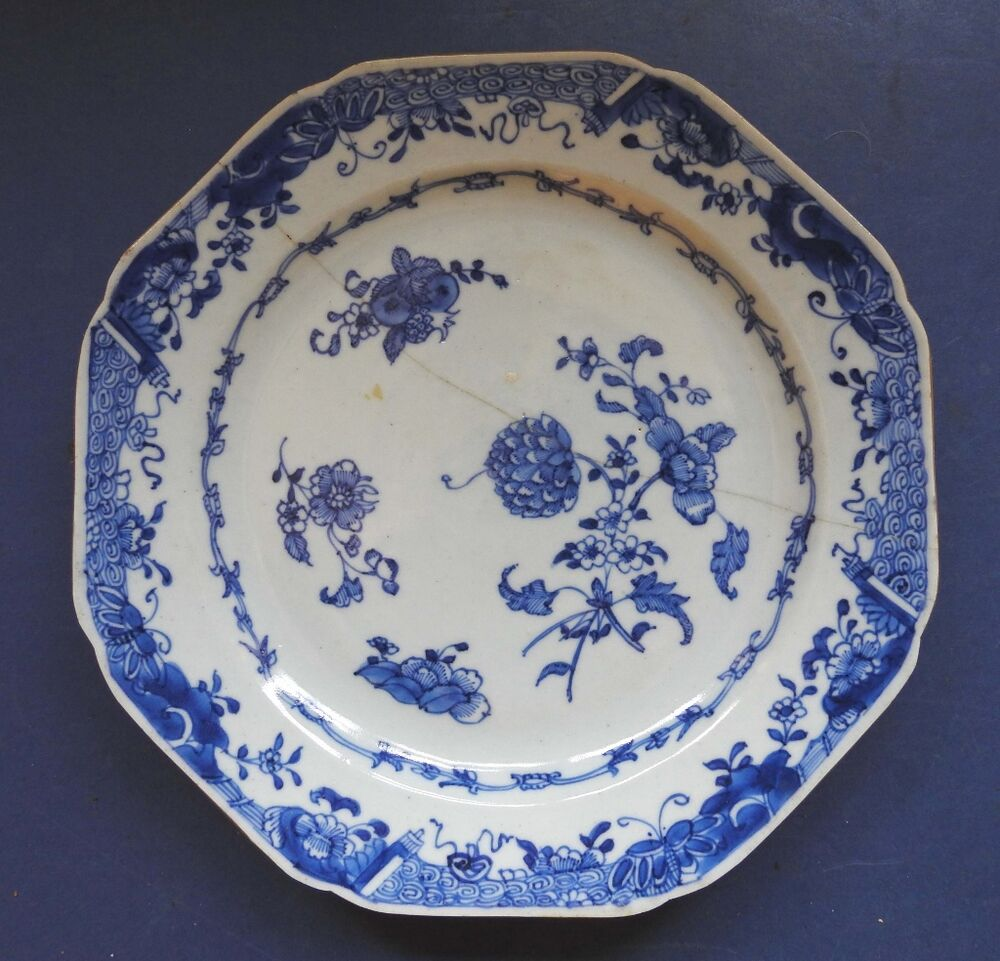 Chinese Porcelain Plates : Chinese porcelain blue white octagonal plate flowers