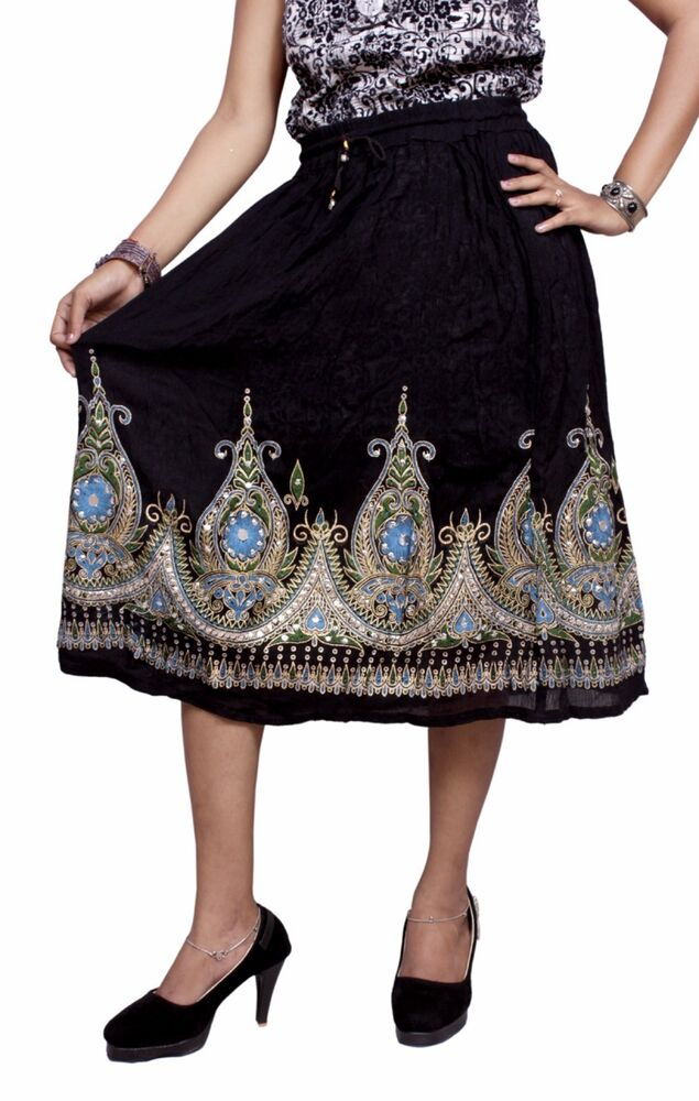 7df5530171f Details about Rayon Embroidered Boho Hippie Beautiful HandWork Gypsy Elastic  Waist Short Skirt