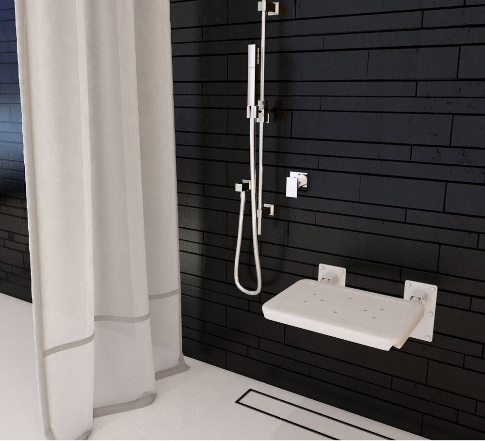White Folding Shower Seat Wall Mounted Bathroom Aid