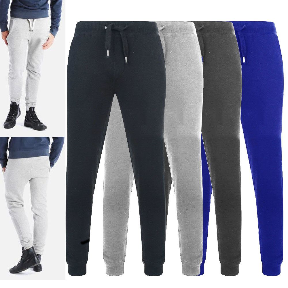 Men Gym Slim Fit Trousers Tracksuit Bottoms Skinny Joggers Sweat Track Zip Pants.