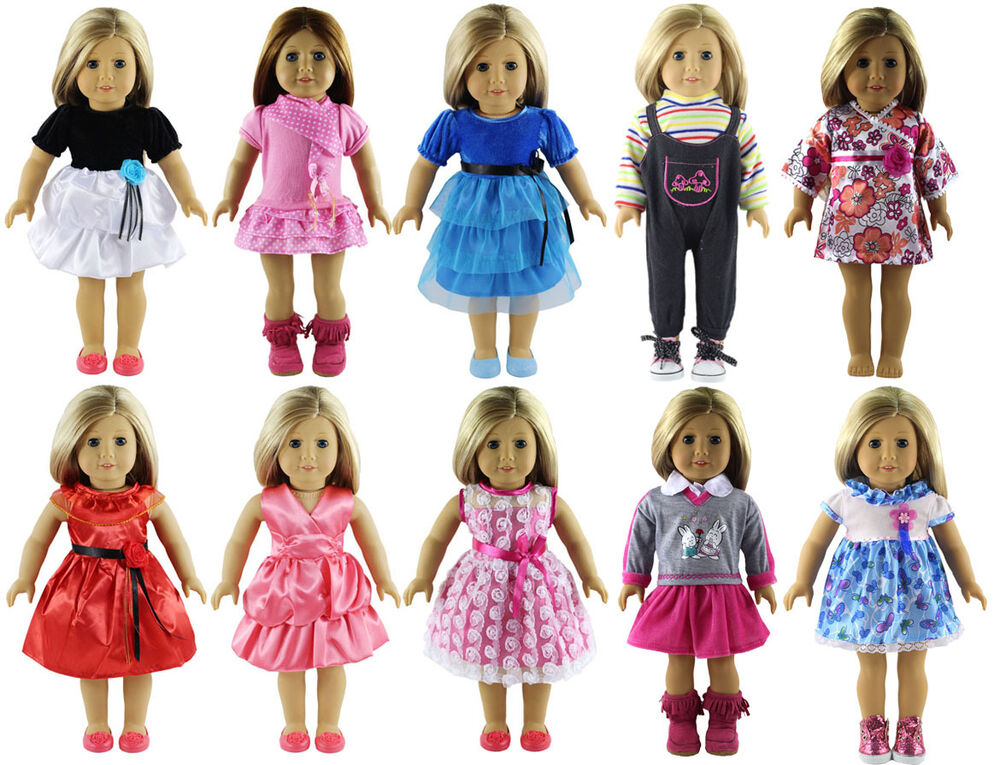 10 Set Doll Clothes Lot For 18'' Inch American Girl Doll