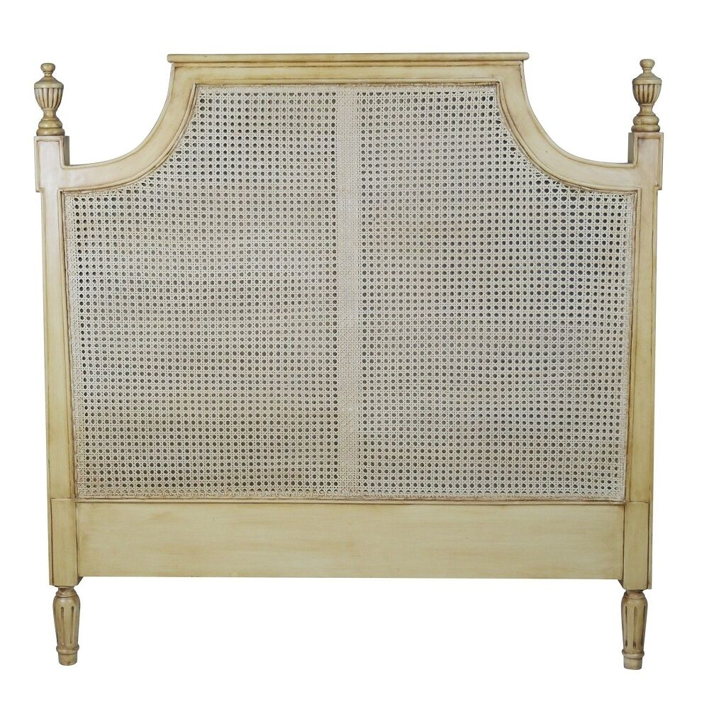 French style vintage rattan wooden 4ft6 double bed for Divan in french