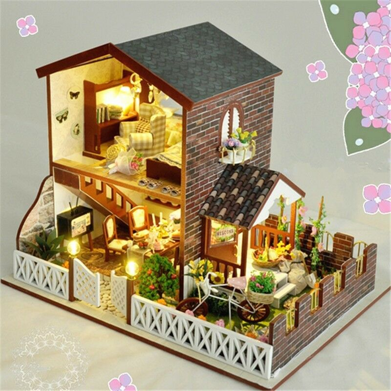 Wooden DIY Dollhouse Miniature Kit Motor Doll House+LED