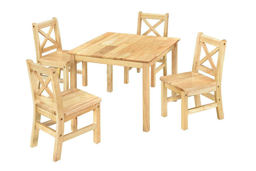 Ehemco Kids Table And 4 Chairs 5 Piece Set Solid Hard Wood