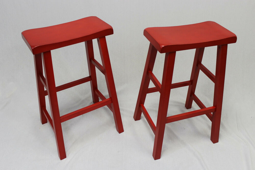 Ehemco 29 Quot Saddle Seat Bar Counter Stools In Red Set Of 2
