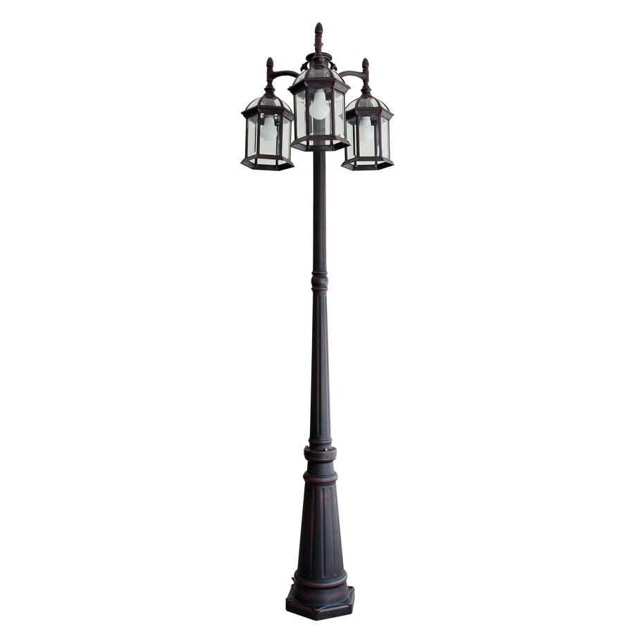 Portfolio Outdoor Lamp Post Pole Mount Light Lighting Fixture 3 Lights Lanter