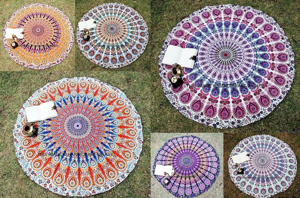 Round Mandala Indian Bohemian Mandala Tapestry Beach