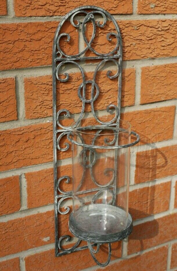 Antique Indoor Wall Sconces : French Shabby Chic Wall Sconce Candle Holder Antique Vintage Style Indoor Garden eBay