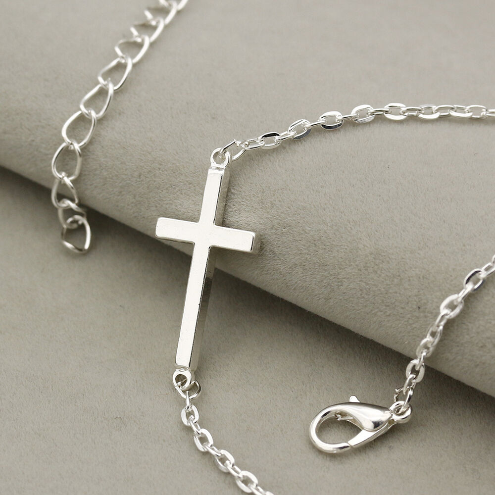 mens womens silver cross pendant chruch necklace polished