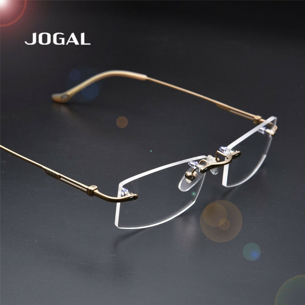 100% Titanium Rimless Myopia Reading Glasses Clear ...
