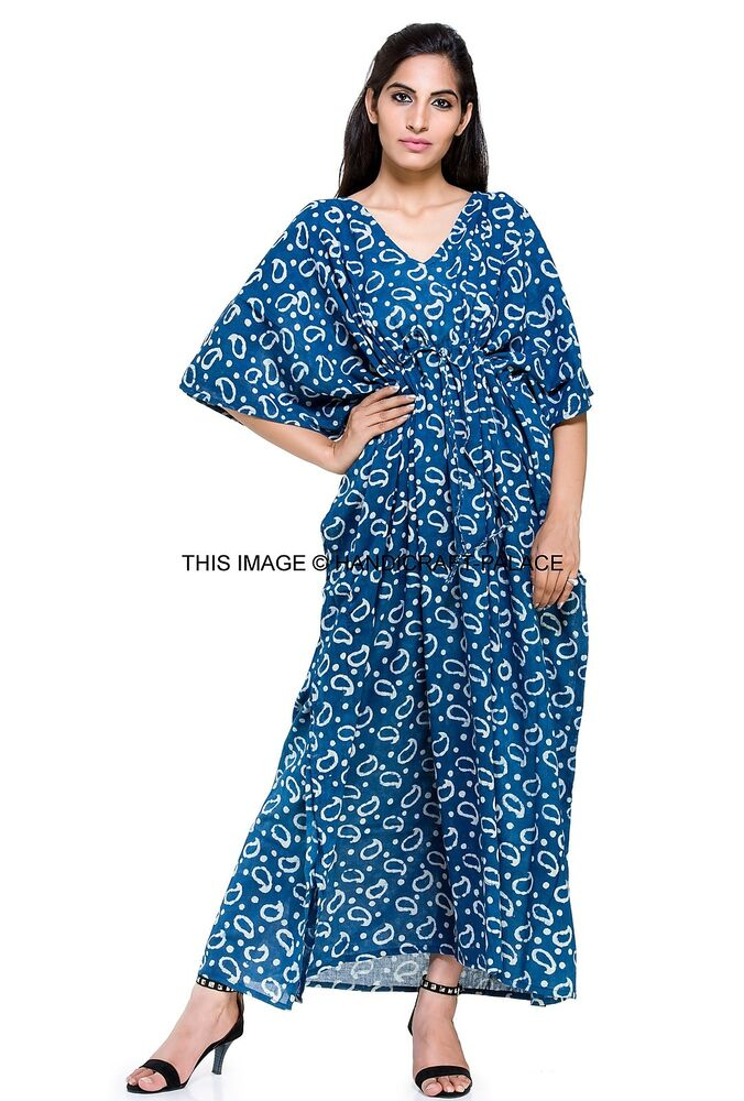 Original Womenu0026#39;s New Caftan Beach Wear Long Dress Cotton Indian Casual Kaftan Plus Size | EBay