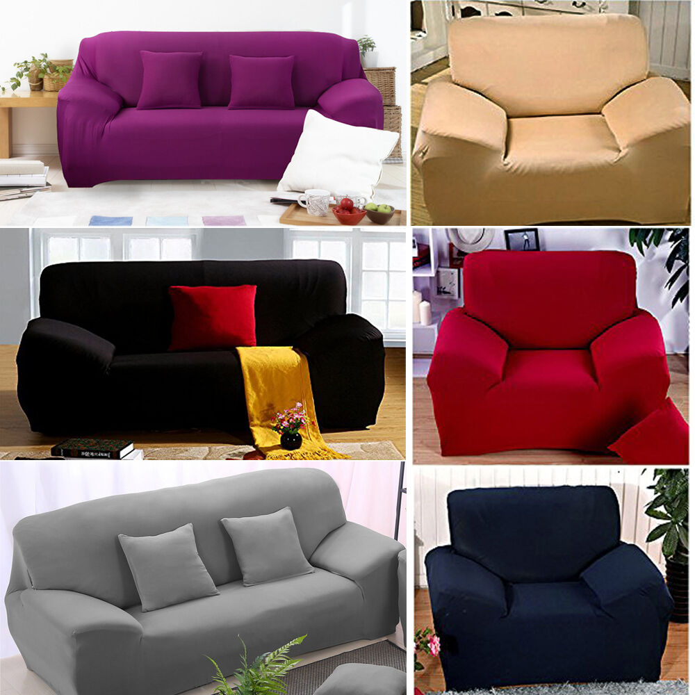 1 2 3 seater sofa slipcover stretch protector soft couch cover washable easy fit ebay. Black Bedroom Furniture Sets. Home Design Ideas