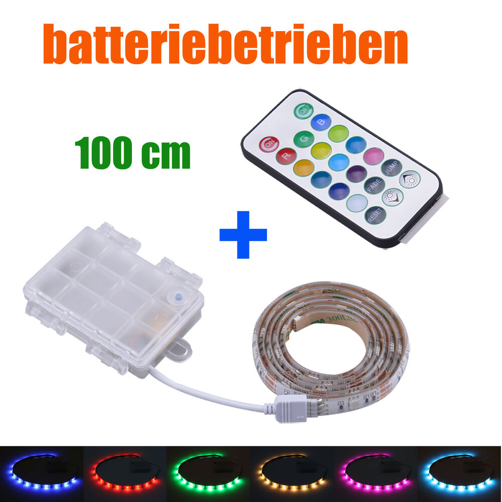 batterie betrieben led rgb strip mit fernbedienung 100cm 1m mehrfarbige leiste ebay. Black Bedroom Furniture Sets. Home Design Ideas