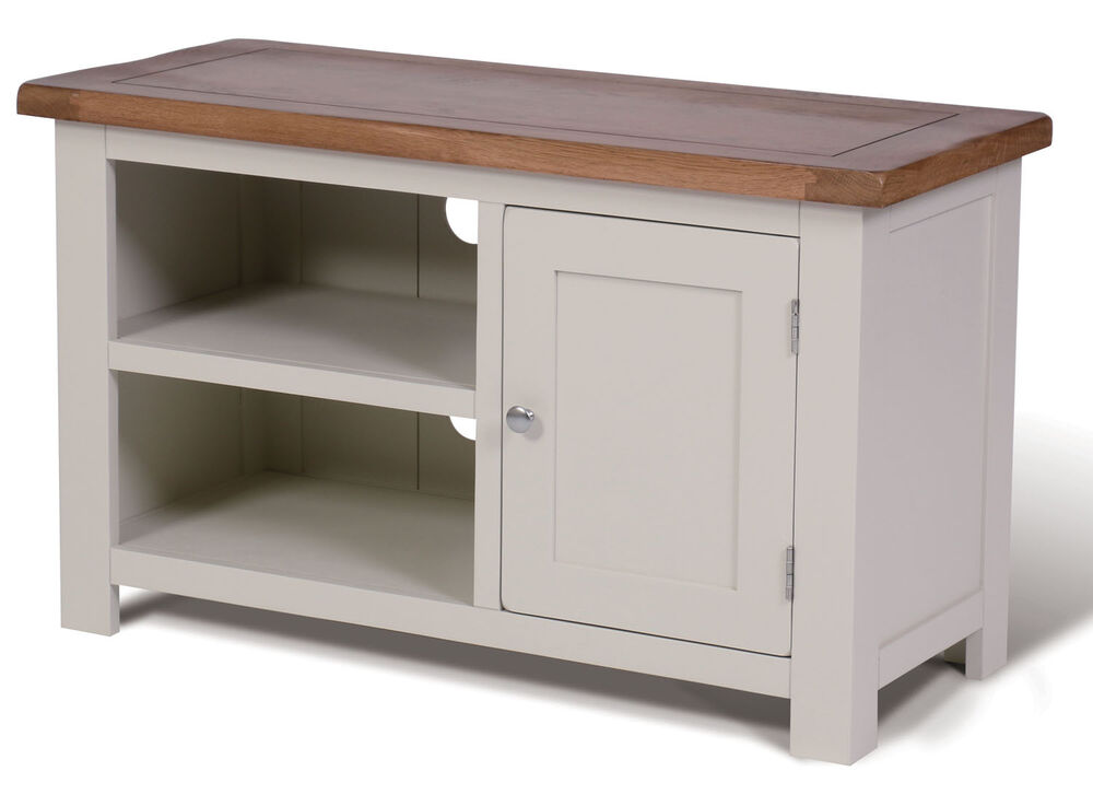 Small white painted oak tv stand media cabinet for Petite table tv
