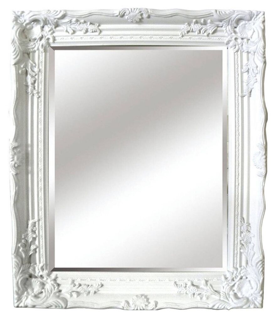 White gloss baroque antique shabby chic style wall mirror for Baroque style wall mirror