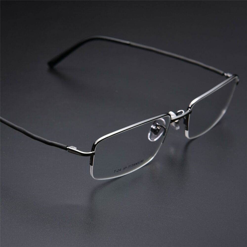 Rimless Clear Glasses : 100% Titanium Half Rimless Myopia Reading Eyeglasses Frame ...