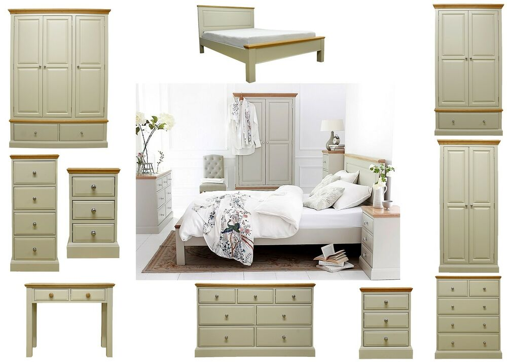 Painted grey oak top bedroom furniture set wardrobe - Bedroom sets with drawers under bed ...