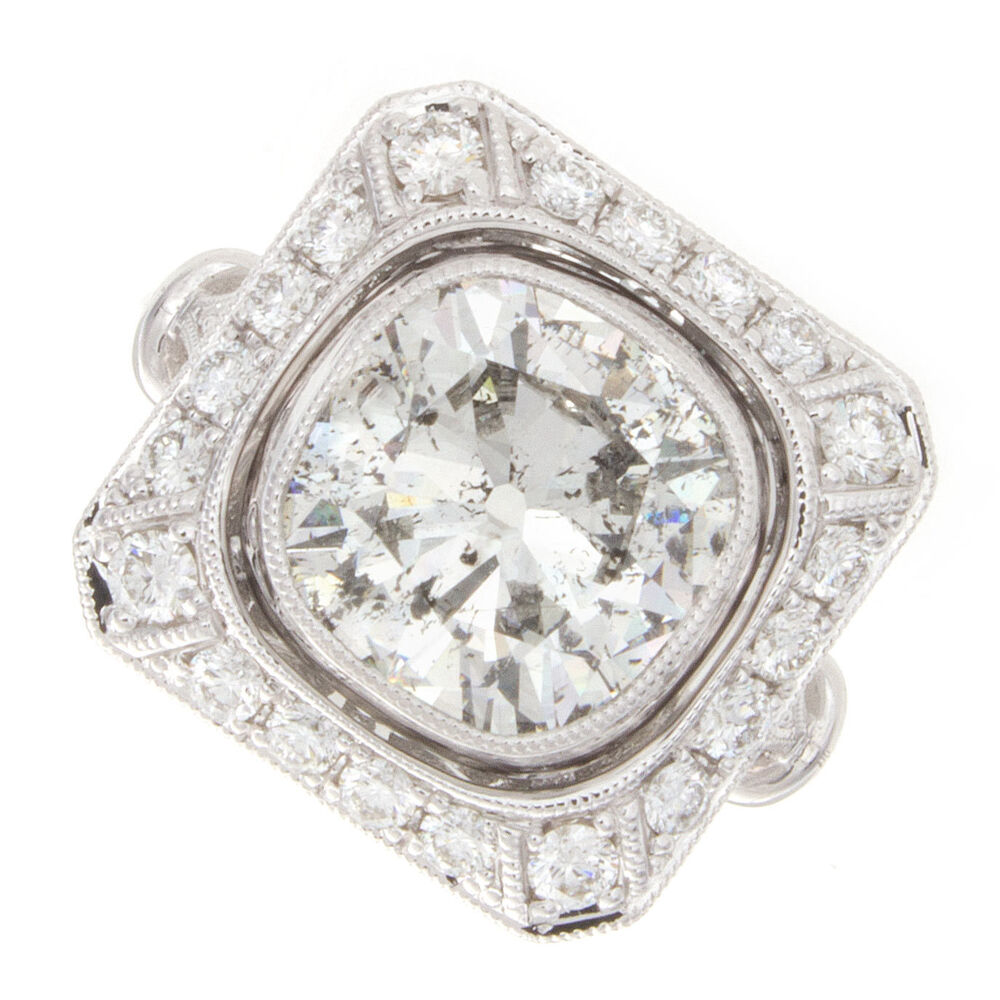 2 40ct Old Mine Cut Certified Diamond Engagement Ring