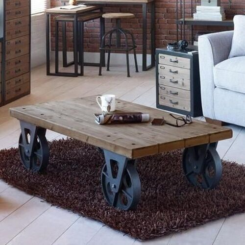 Wooden Wheel Table ~ Large industrial wooden iron coffee table with black