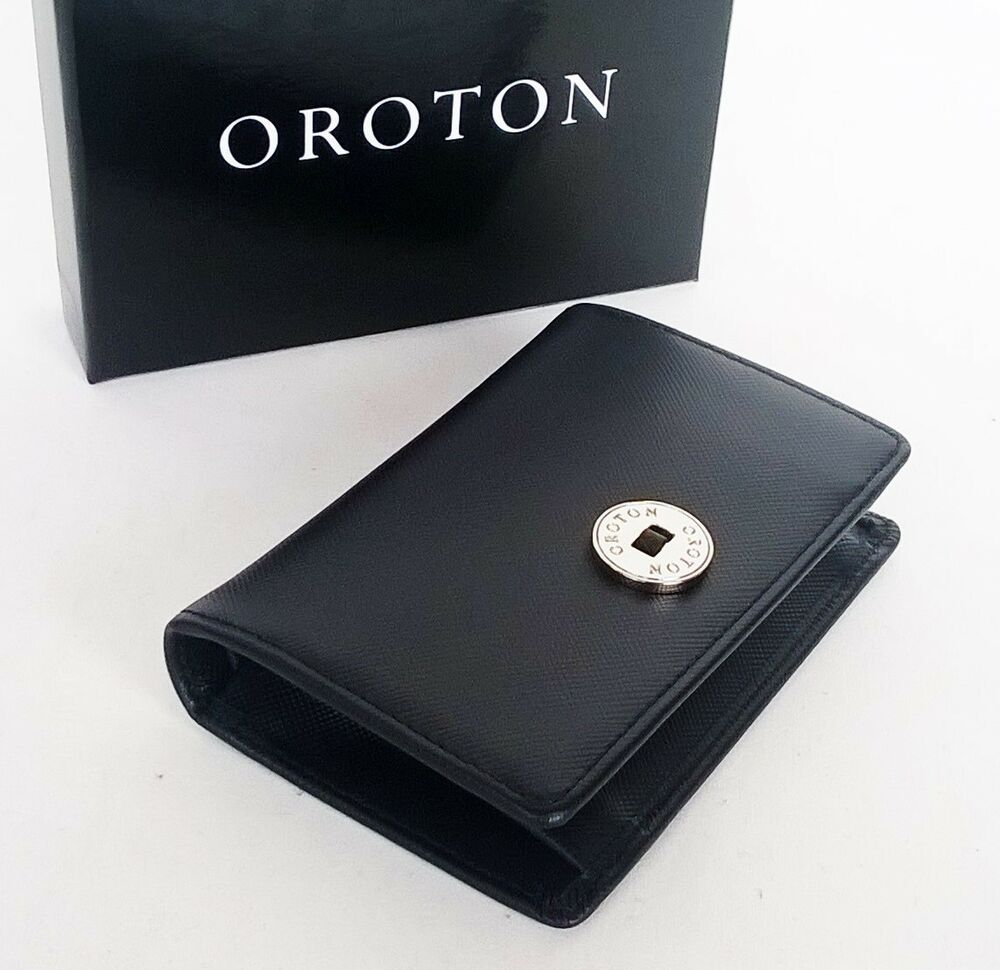 New OROTON Wallet Business Card Holder Black Textured Saffiano ...