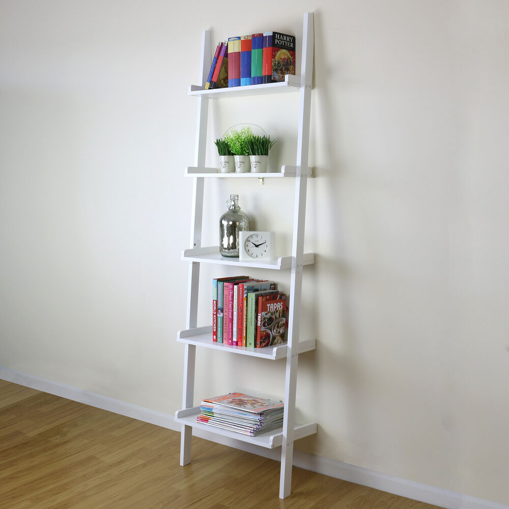5 tier white ladder wall shelf home storage  display unit