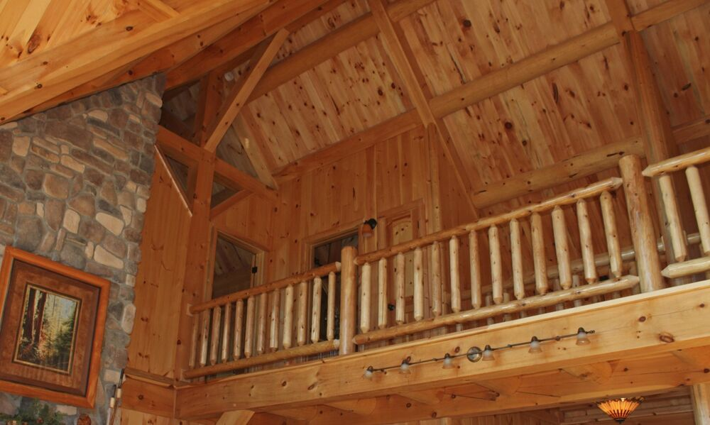 White Cedar Log Loft Deck Railing Wood Horizontal Kit