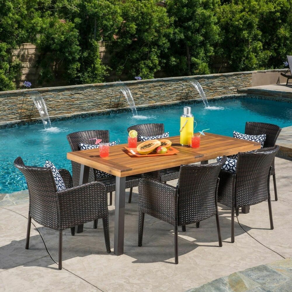 Delgado 7 Piece Outdoor Dining Set Wood Table W Wicker Chairs