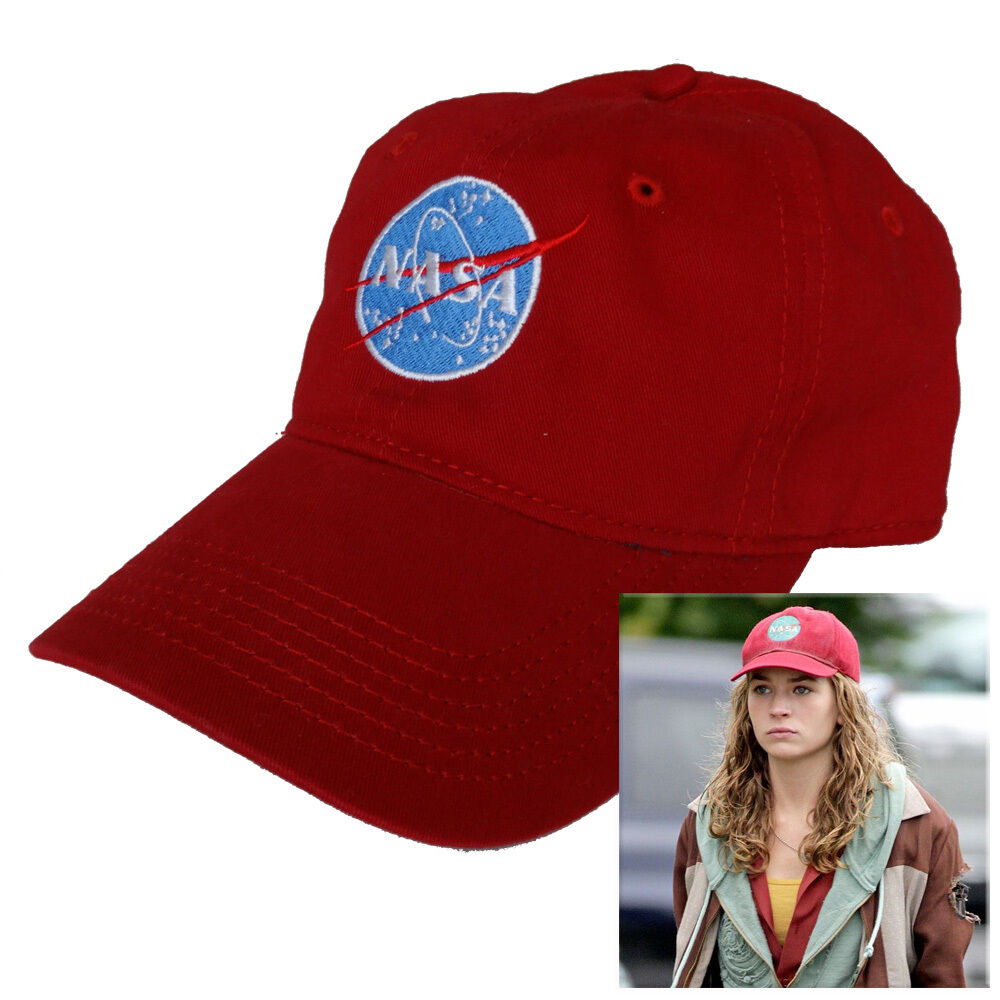 NASA logo embroidered red Hat Tomorrowland Casey Newton ...