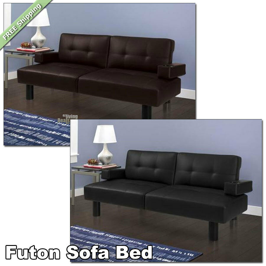 Designer Futons: Futon Sofa Bed Faux-Leather Modern Armrests Sleeper