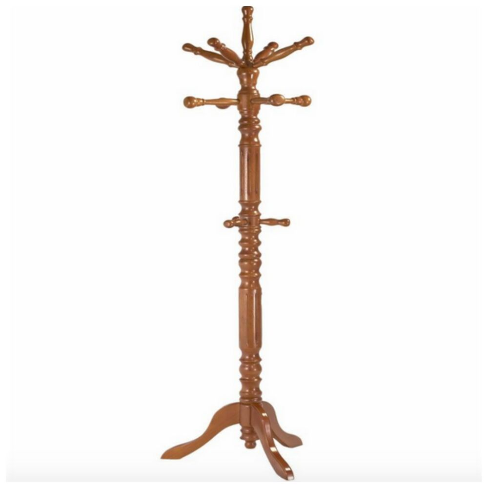 Wood Coat Hat Rack 12 Hook Tree Organizer Holder Entryway