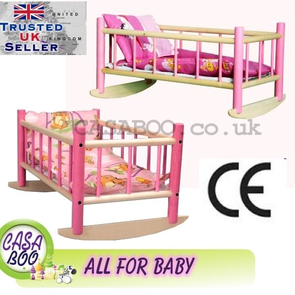 Wooden Toy Beds Crib Cot For Dolls With Bedding Preschool