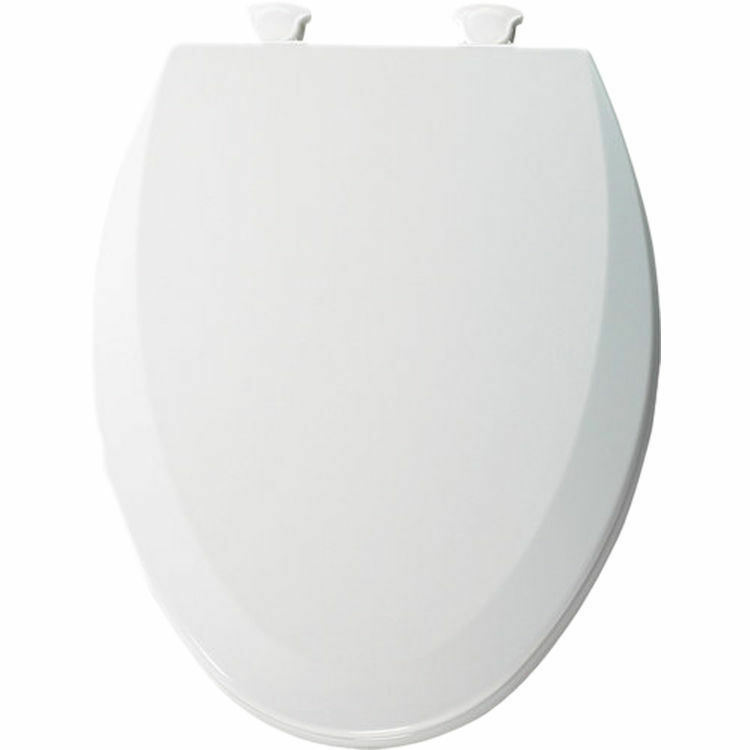 White Elongated Toilet Seat Lid Cover Closed Front Lift
