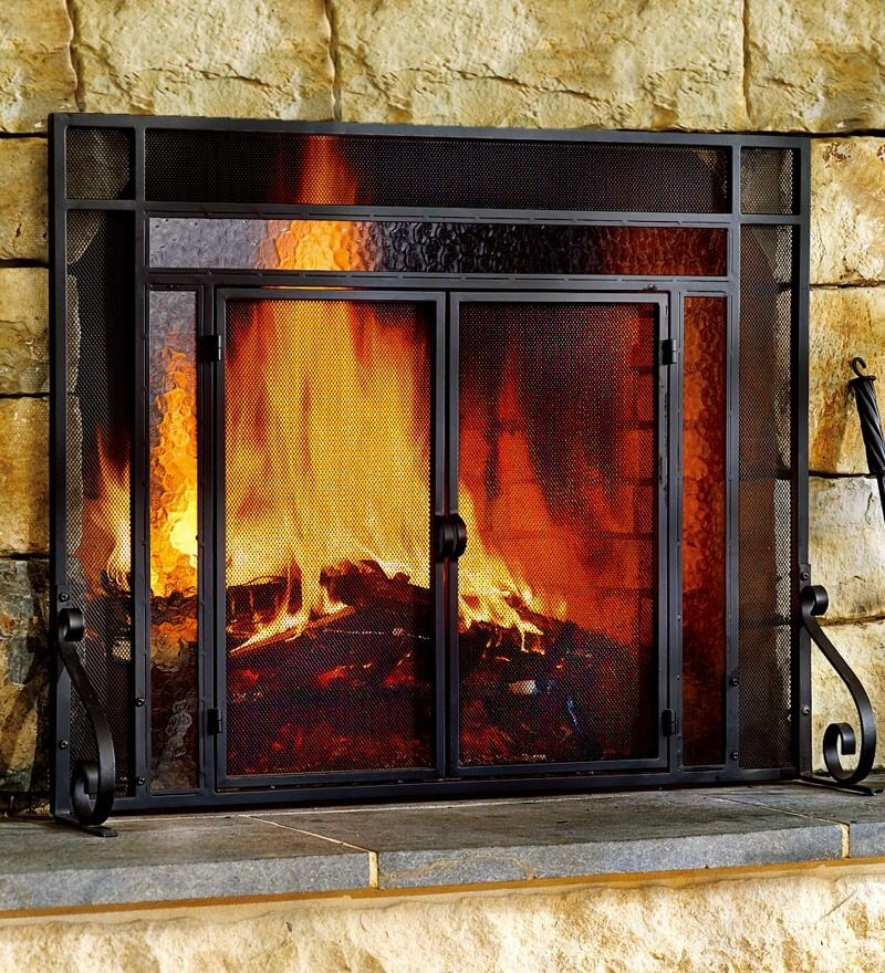 fireplace screens with doors 2 door steel fireplace screen w tempered glass accents 29504