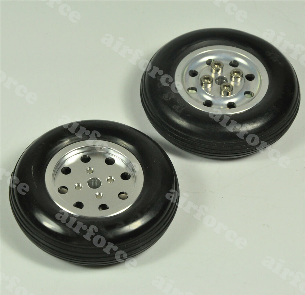 1 Pair 4 5inch 114 3mm Solid Rubber Wheels With Alu Hub