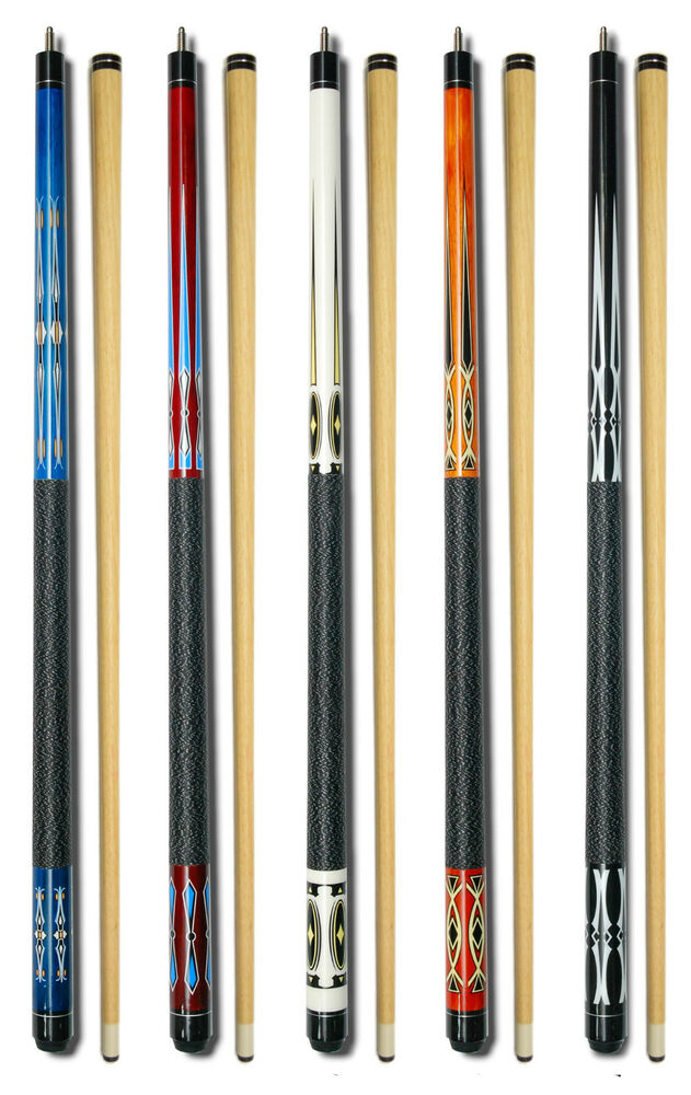 Set Of 5 Pool Cues New Two Piece Billiard House Pool Cue
