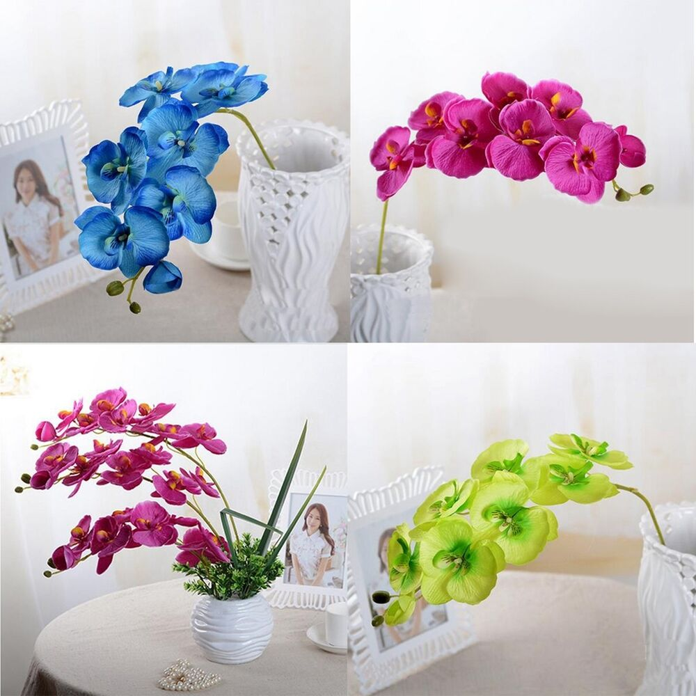 Artificial butterfly orchid silk flowers home wedding for Artificial flowers decoration for home